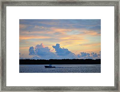 Driving Into Sunset Framed Print