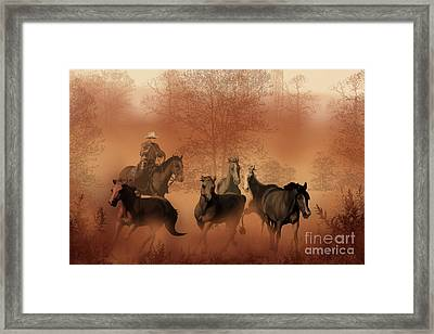 Driving The Herd Framed Print by Corey Ford