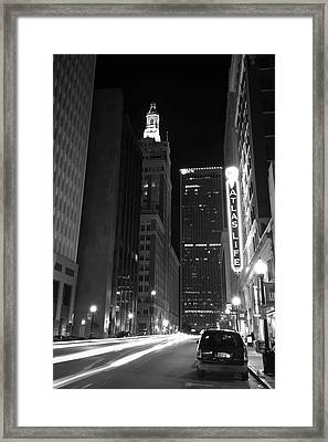 Driving Through Downtown Tulsa - Black And White Framed Print by Gregory Ballos