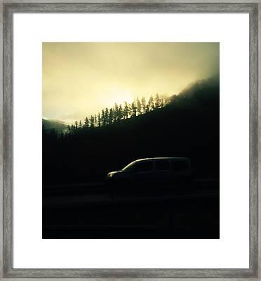 Driving Through The Fog Framed Print