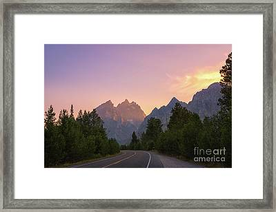 Driving Through The Tetons Framed Print by Michael Ver Sprill