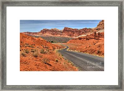 Driving Through The Waterpocket Fold Framed Print by Adam Jewell