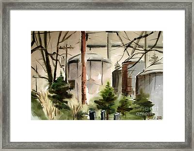 Framed Print featuring the painting Drizzle Mists Midst Furry Pines Plein Air by Charlie Spear