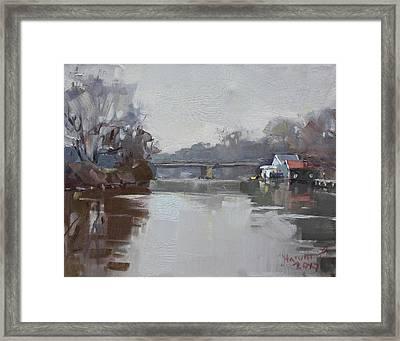 Drizzling At Tonawanda Canal  Framed Print by Ylli Haruni