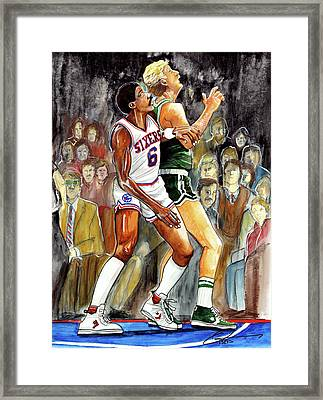 Dr.j Vs. Larry Bird Framed Print by Dave Olsen