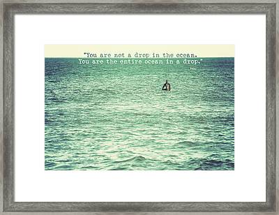 Drop In The Ocean Surfer Vintage Framed Print by Terry DeLuco