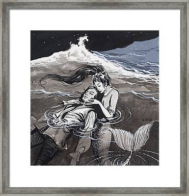 Drowned Man Being Assisted By A Mermaid Framed Print