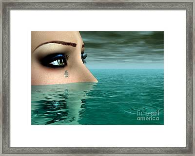 Drowning In A Sea Of Tears Framed Print by Sandra Bauser Digital Art