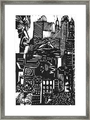 Drowning In Metropolis Framed Print by Darkest Artist
