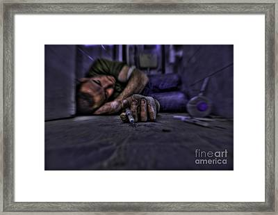 Drug Addict Shooting Up Framed Print