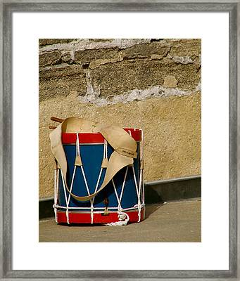 Drum At The Wall Framed Print