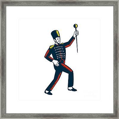 Drum Major Marching Band Leader Woodcut Framed Print