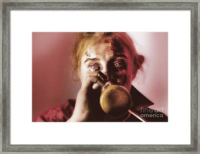 Drunk Ghoul Sculling Beer At Halloween Party Framed Print by Jorgo Photography - Wall Art Gallery