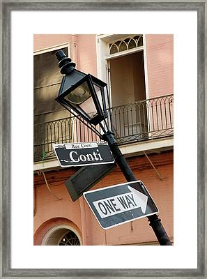 Drunk Street Sign French Quarter Framed Print