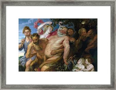 Drunken Silenus Supported By Satyrs Framed Print