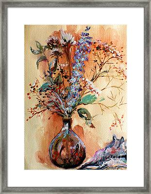 Framed Print featuring the painting Dry Flowers by Linda Shackelford