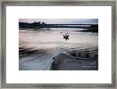 Dry Vistula River Twilight View Framed Print