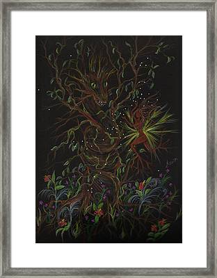 Framed Print featuring the drawing Dryad Brings News by Dawn Fairies