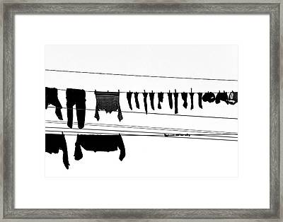 Drying Laundry On Two Clothesline Framed Print