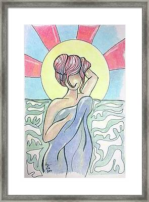 Drying Off From A Swim Framed Print by Loretta Nash