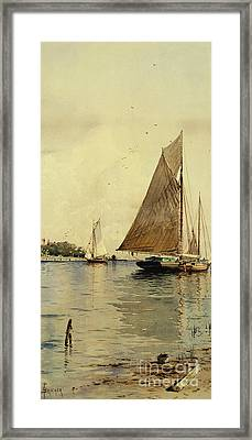 Drying The Sails, Oyster Boats, Patchogue, Long Island Framed Print by Alfred Thompson Bricher