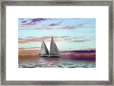 Dual Sailboats - Paint Fx Framed Print