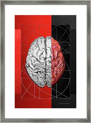 Dualities - Half-silver Human Brain On Red And Black Canvas Framed Print by Serge Averbukh