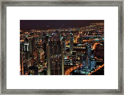 Dubai At Night Framed Print