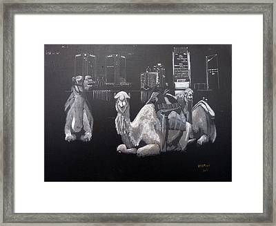 Framed Print featuring the painting Dubai Camels by Richard Le Page