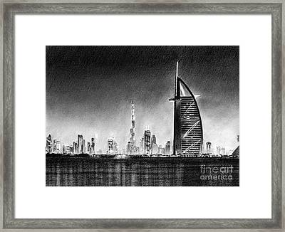 Dubai Cityscape Drawing Framed Print