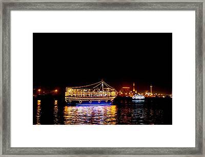 Dubai Creek At Night Framed Print