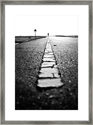 Dubai Ghost Road, Yellow Line, Roller  Framed Print by David GABIS