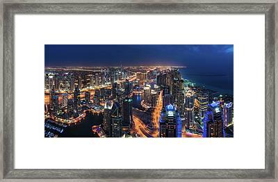 Dubai - Marina Skyline Panorama Framed Print