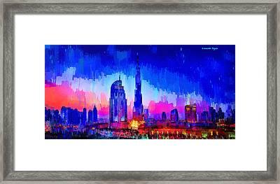 Dubai Skyline 100 - Pa Framed Print