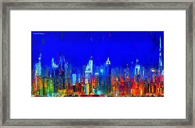 Dubai Skyline 50 - Pa Framed Print by Leonardo Digenio