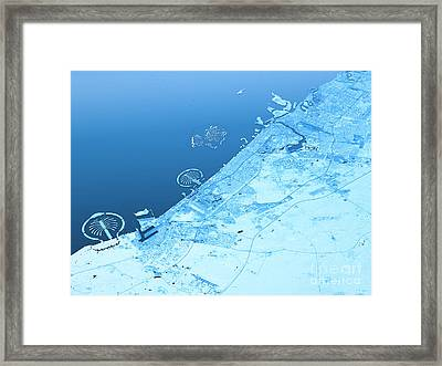 Dubai Topographic Map 3d Landscape View Blue Color Framed Print