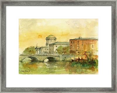 Dublin Cityscape Framed Print by Juan  Bosco