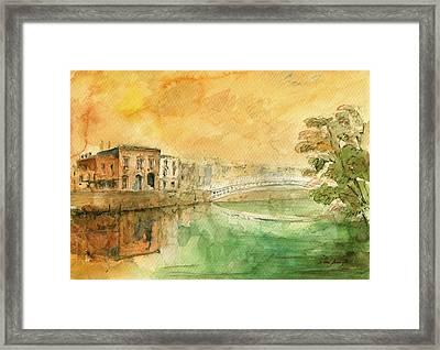 Dublin Ha'penny Bridge Painting Framed Print