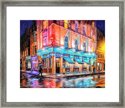Framed Print featuring the painting Dublin In The Rain by Mark Tisdale