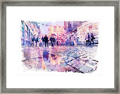 Dublin Watercolor Streetscape Framed Print