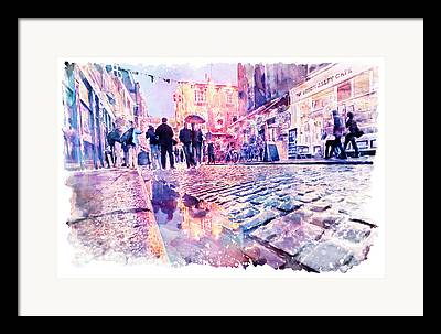 European work Mixed Media Framed Prints