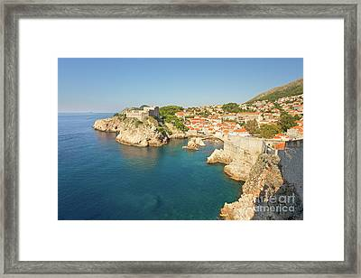 Dubrovnik City Walls And Inviting Adriatic Framed Print by Matt Tilghman
