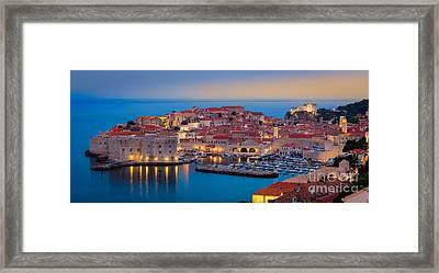 Dubrovnik Twilight Panorama Framed Print by Inge Johnsson