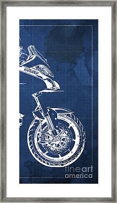 Ducati Multistrada 1200 Blueprint - 3 Of 3 Framed Print
