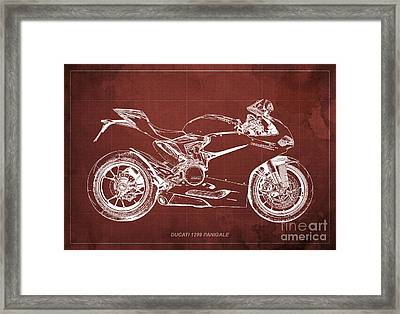 Ducati Superbike 1299 Panigale 2015, Gift For Men, Red Background Framed Print by Pablo Franchi