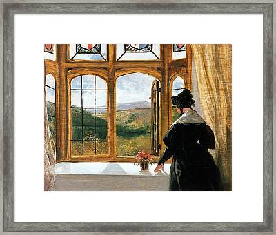 Duchess Of Abercorn Looking Out Of A Window Framed Print by Sir Edwin Landseer