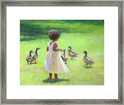 Duck Chase Framed Print by Anna Rose Bain