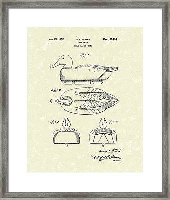 Duck Decoy 1952 Patent Art Framed Print