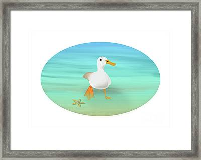 Duck Paddling At The Seaside Framed Print