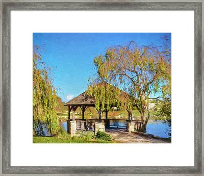 Duck Pond Gazebo At Virginia Tech Framed Print